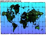 Mercator projection of the world map (which exaggerates the size of USA and Russia